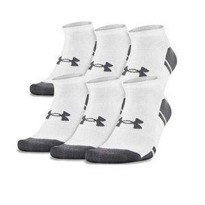 UA Resistor 3.0 no show Socks Boy's 6 Pair White
